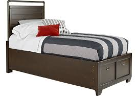 Clubhouse Chocolate 3 Pc Twin Storage Bed Beds Dark Wood