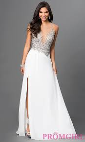 long jeweled bodice prom dress in ivory promgirl