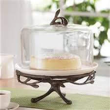 Shabby Chic Cake Stand With Glass Cover