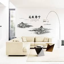 chinesische berge poet schriftzug wandaufkleber wohnzimmer büro orientalischen worte tapete poster wohnkultur wand applikation