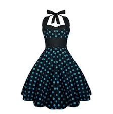 Rockabilly Pin Up Black Blue Polka Dot Dress Gothic 50s Swing Retro Party