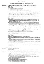 Download Corporate Investment Bank Legal Resume Sample As Image File