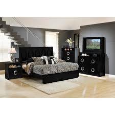 hollywood bedroom bed tv dresser tv mirror black queen