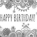 Happy Birthday Black And White Happy Birthday With Hand Drawn Border Vector Black And White
