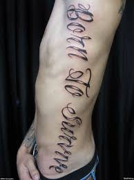 Collection Of 25 Lettering Tattoo Design On Rib Side