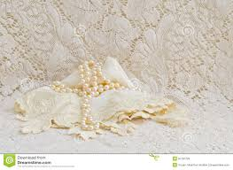 Vintage Lace Handkerchief And Pearls