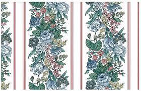 Pink Floral Striped Vintage Wallpaper Blue Green White 595712