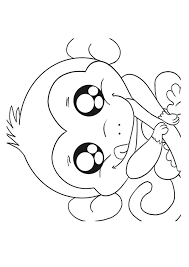 Night Monkey With Cute Face And Funny Smile Coloring Page