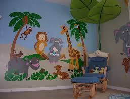 Kids Bedroom Decorating Ideas With Jungle Wall Mural