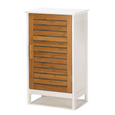 Free Standing Kitchen Cabinets Amazon by Glossy White Kyoto Storage Cabinet With Bamboo Door Amazon Ca