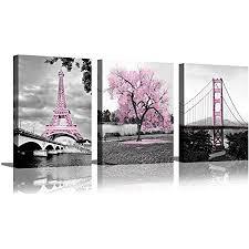wandkunst für schlafzimmer rosa baum eiffelturm golden gate bridge romantisch schwarz und weiß stadt poster badezimmer bilder drucke auf