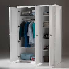 armoire chambre armoire de chambre en bois laqué blanc hauteur 200 cm lewis 3 portes