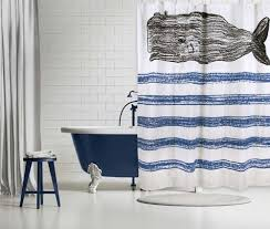 Whimsical Blue Whale Sketch Shower Curtain