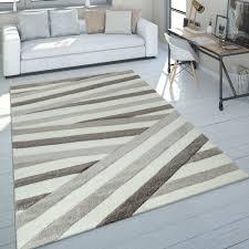 teppich wohnzimmer braun beige streifen muster kurzflor 3 d design robust weich