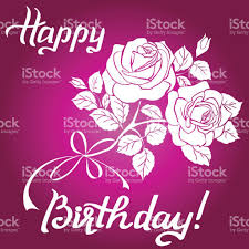 Happy Birthday lettering and bouquet of roses on purple background royalty free happy birthday lettering