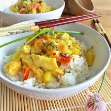 cuisine au lait de coco curry poulet ananas au lait de coco et riz basmati cuisiner
