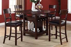 poundex 5pcs wooden counter height dining table set f2347 f1207
