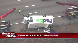 100 Fedex Truck Accident Driver Escapes Injury When FedEx Truck Overturns In Westwood