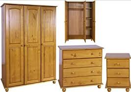 Solid Pine Bedroom Furniture Set 3 Door Wardrobe Drawers