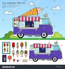 Thin Line Flat Design Ice Cream Stock Vector 361611407 - Shutterstock