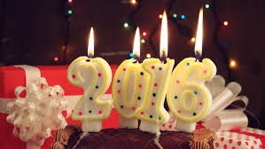 Happy New 2016 Year Romantic Candle Light With Chocolate Cake