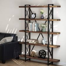 100 Tree Branch Bookshelves LITTLE TREE 5 Tier Bookcase Solid Wood 5Shelf Industrial Style Bookcases And Book Shelves Metal And Wood Free Vintage Bookshelf Retro Brown