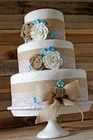 Burlap Lace Rustic Wedding Cake
