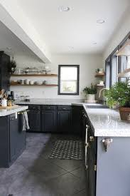 KitchenThe New Kitchen Confortable Ideas With Black Wooden Cabinets Granite Countertops Wide Windows
