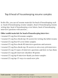 Top 8 Head Of Housekeeping Resume Samples In This File You Can Ref Materials