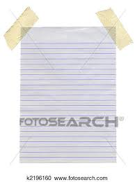 Stock graphy of Lined paper stuck with masking tape isolated