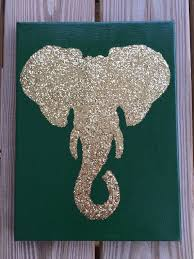 Custom 9x12 Glittered Elephant Silhouette Canvas Art Nursery Dorm Room Decor Roll Tide Bohemian Alabama