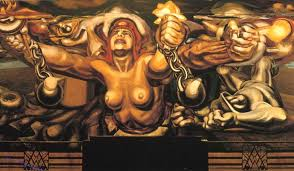view of a mural depicting democracy breaking her chains 1934