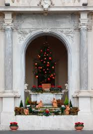 A Nativity Scene And Christmas Tree Are Seen Outside The Apostolic Palace At Vatican