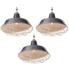 USA Blue Industrial Enamel Shade Cage Pendant Lights at 1stdibs