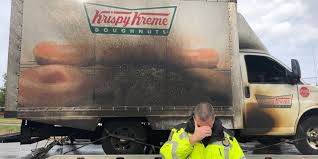 100 Truck Accident Today Cops Hilariously Heartbroken After Krispy Kreme Truck Catches Fire