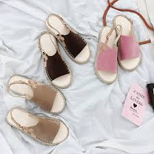ItGirl Shop OPEN TOE SUEDE SUMMER WICKER FLAT ESPADRILLES Aesthetic Apparel Tumblr Clothes Soft