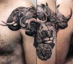 Africa Animal Themed Mens Arm Tattoo With 3d Design