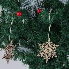 10PCS Wooden Cutouts Snowflake Hanging Ornament Embellishment Xmas Gift Tag Christmas Tree Decorations Pendant Enfeites De