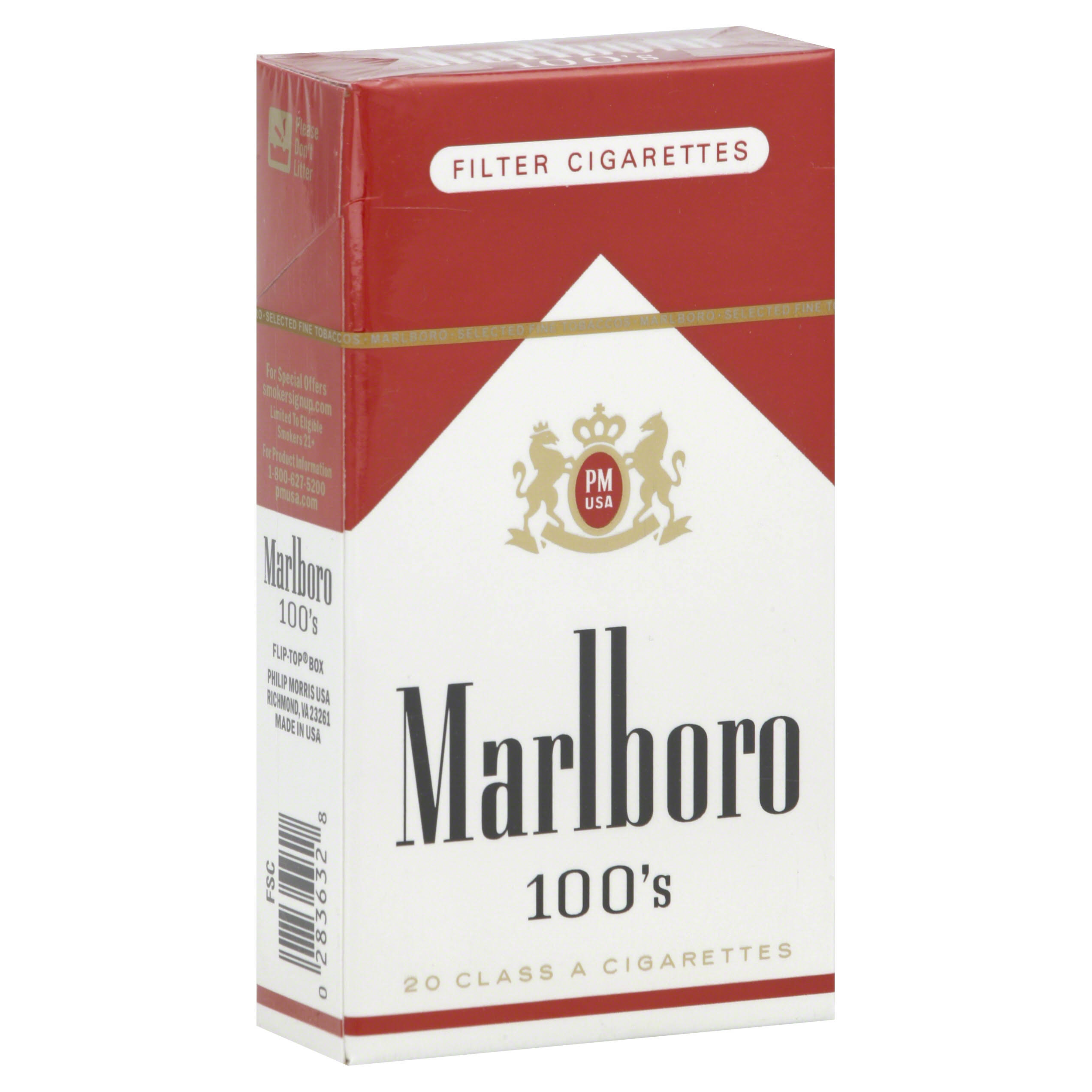 Marlboro Filter Cigarettes, 100's, Flip-Top Box - 20 cigarettes