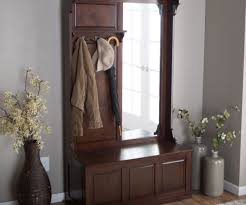 Foyer Bench Coat Rack Wooden Mudroom Brown Entryway With Hall Tree