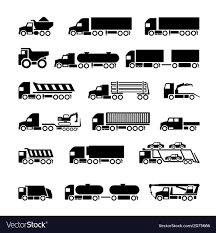 Trucks Trailers And Vehicles Icons Set Royalty Free Vector