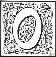 Click The Letter O With Ornament Coloring Pages