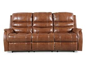 leather power reclining adjustable headrest 82 sofa in brown