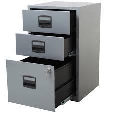 3 drawer locking a4 filing cabinet pfa3 silver white