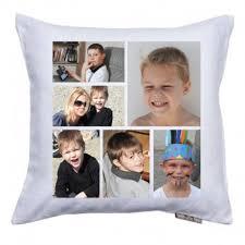 coussin avec photo personnalise six photos imprimées sur un coussin en tissu blanc satiné
