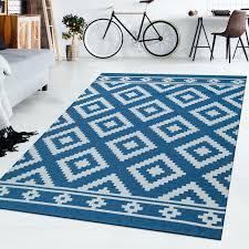 details zu wohnzimmer teppich blau weiß ethno rauten muster skandi design robust kurzflor