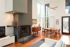 fireplace mantel shelf living room contemporary with ceiling fan