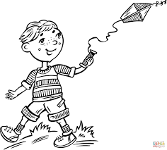 Click The Boy Flying A Kite Coloring Pages