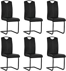 festnight 6er ser kunstleder schwingstuhl essstuhl küchenstuhl freischwinger stühle mit stahlbeine für esszimmer küche 43 x 55 x 100 cm schwarz