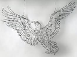 Wire Art Sculptor Elizabeth Berrien Bald Eagle And Trout Fish Sculpture